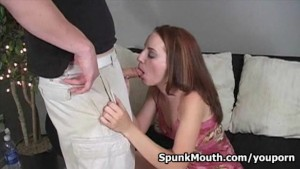 Redhead naughty amateur Tabitha gets nasty facial after hard fucking