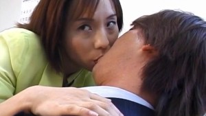 Nao Kirishima sucks boner and is fucked in hairy crack at office