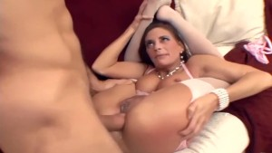 Flexible brunette fucked in sexy pink lingerie