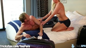 TrickySpa Curvy Blonde Rides Client and Blows Another