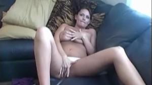 Busty Leslie masturbates her p