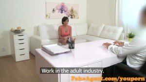 FakeAgent Hot waitress with amazing natural tits takes dick in Office