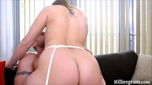 big arse bitch fucks cock in stockings and suspenders