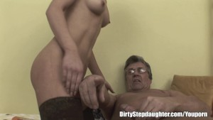 Stepdaughter gets caught masterbating and fucks stepdaddy