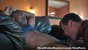 Soothing blowjob for a black construction worker