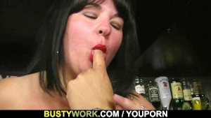 Hard fucking for huge titted barmaid