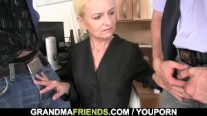 Granma sucks and fucks two cocks at job interview