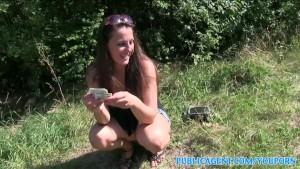PublicAgent Hot brunette milf fucks stranger outside for cash
