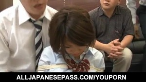 Miku Misato in school uniform gets cocks deepthroat and cum after