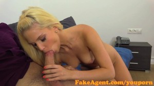 FakeAgent Horny blonde babe takes big dick in casting interview