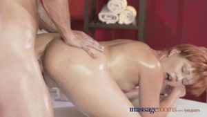 Massage Rooms Leggy redhead stunner has intense G-spot orgasm