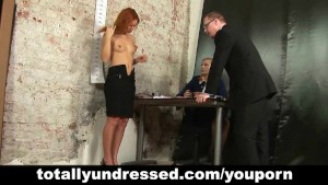 Kinky job interview for young redhead secretary