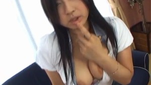 Maaya Kurihara busty licks her own nipples and sucks boner a lot