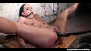 Clair Brooks bound gagged caned vibed dildoed