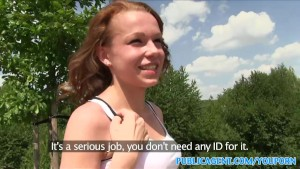 PublicAgent Fit slim redhead sucks and fucks in public