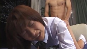 Oriental student in uniform and socks bent over and fucked doggy style