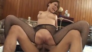 Haruka Sanada gets so much fuck through crotchless stockings