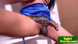 Tgirl Baby shoves dildo in her