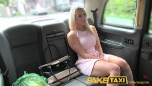 FakeTaxi Helpful cab driver gives sexy blonde a creampie on backseat