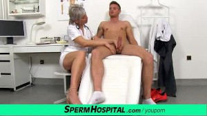 Slim czech milf doctor Beate wanking young stiff cock
