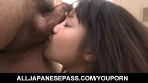 Kanna Harumi has hairy snatch fucked after getting vibrator on it