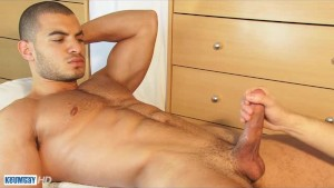 The arab male gets wanked his very huge stalion cock!