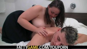 Plump chick rides cock after massage