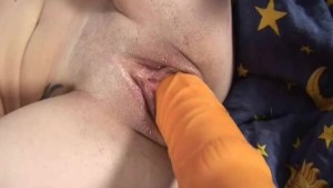 Brunette with a giant brutal dildo