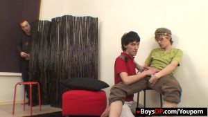 Guy joins gay lads for anal DP