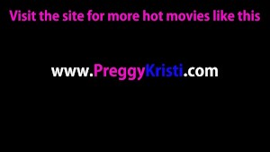 Pregnant Kristi touching her soft pink pussy