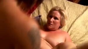 Mature blonde rims his asshole and enjoys a facial cumshot
