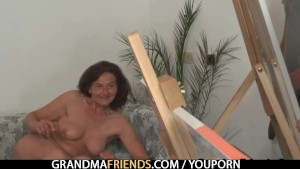 Two horny dudes fuck old mature lady
