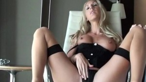 Blonde with small tits fucks her pussy with toy dildo