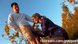 Lustful outdoor fellatio