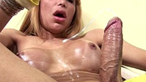naughty tranny with fetish for gloves jerks off and cums only at pornmike.com