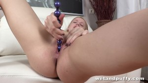 Petite blonde lady likes to pee so much