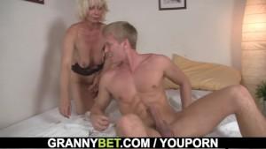 Blonde old women rides his stiff rod