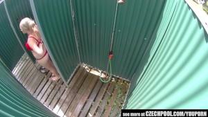 Czech Big Tits Blonde Spied in Public Shower Cabin