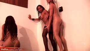 Tranny girlfriends with huge dicks fuck massive shemale ass
