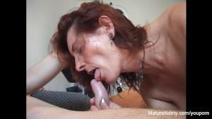 Pierced granny gets fucked