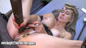 Army girl Tinkerbell fucks pussy and ass with big hard bullets and toys