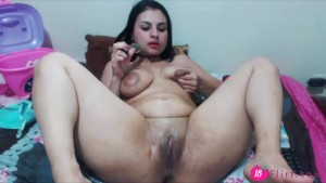 18flirt.com - Latin slut Naty.Milk with huge lactating breast penetrates her ass