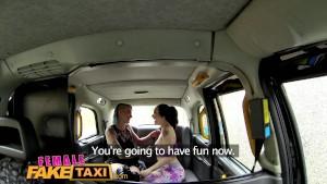 FemaleFakeTaxi Sexy lesbian strap on fuck in cab