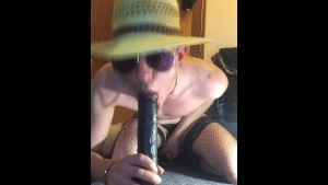 ts bitch brutal extreme gagging on huge black dildo