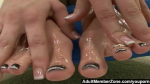 AdultMemberZone - Jasmine Jolie Licks Jizz off of Her Feet