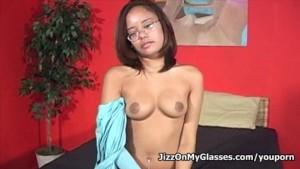 Petite asian porn newbie Annie Cruz blows cock for a monster facial