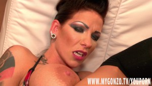 Tattooed German babe Jordan Night shows boobs and fucks hard