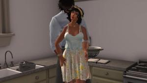 Fred Adjani et Stéphanie passe un moment romantique en cuisine