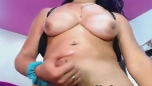 Busty Shemale Dildoing Her Tight Ass