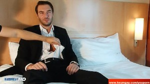 A innocent str8 banker serviced his big cock by a guy!